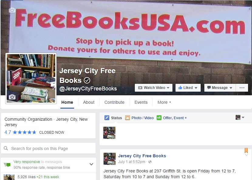 Jersey City Free Books Facebook